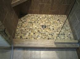 river rock tile shower floor contemporary bathroom how to install on