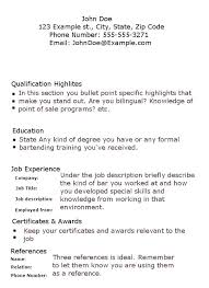 Example Bartender Resume Bartender Resume How To Make A Resume With