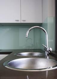 aqua glass backsplash