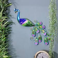 glass peacock wall art garden wall