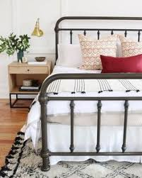 braden iron bed wesley. Iron Bed Frame, Sconce Bedside Lamp, Pretty Layers, With Pops Of Red. Braden Wesley