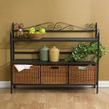 black iron furniture. Furniture:Breathtaking Black Iron Shelves Decor With Rattan Basket Storage And Laminated Wooden Flooring Idea Furniture