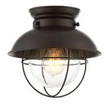 river station rubbed bronze one light lantern flush mount