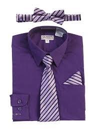 Gioberti Big Boys Purple Shirt Necktie Bow Tie Pocket Square 4 Pc Set 8 18