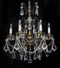 6 light 1920s italian floine chandelier with crystal flowers central tree with crystals