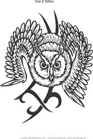 Owl 2 Tattoo Design Coloring Page
