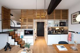 Apartment:Catchy Modern Interior Design Of Small Studio Apartment With  Perfect Combination Blonde Wooden Flooring