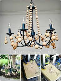 diy beachy wood bead chandelier tutorial
