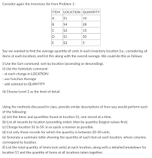 How To Do An Inventory List Solved Consider Again The Inventory List From Problem 1