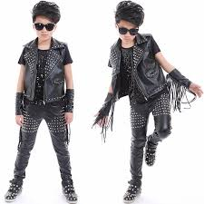 2019 boys hip hop jazz stage costumes for kids studded black leather pants jacket vest stage performance wear clothes dnv10045 from cety