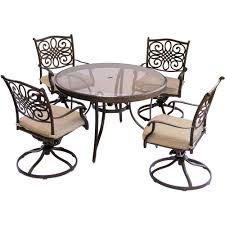 hanover traditions 5 piece aluminum outdoor dining set with round glass top table and