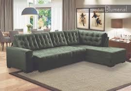 sofá retrátil encosto fixo 5 lugares e chaise fixa blumenal 3 10 m veludo verde