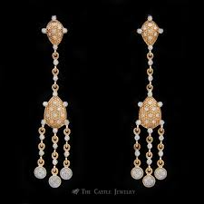 diamond chandelier earrings w 50cttw round brilliant cut diamonds crafted in 14k rose gold