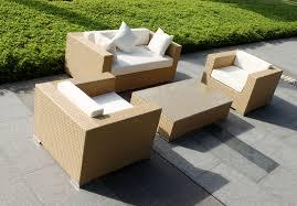 Furniture:Contemporary Garden Furniture With Black Laminated Glass Coffee  Table And Black Rattan Chair Combine
