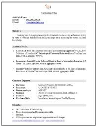 Sample Resume For Freshers Engineers Ece Resume Corner