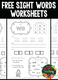 Free Sight Word Worksheets For Kindergarten See Also Related To ...