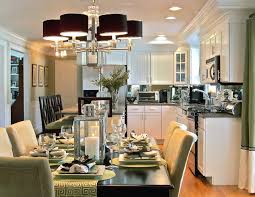 charmant interior open floor plan kitchen dining living room chandeliers lamp shades white dining room decorating