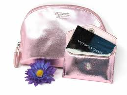 details about victoria s secret metallic rose gold cosmetic bag make up travel case mirror set