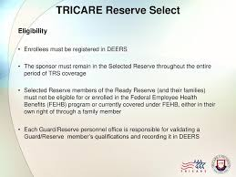Once a member retires from the reserve component, he or she loses access to the subsidized tricare reserve select plan. Module 7 Tricare Reserve Select Ppt Download