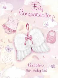 Cards Pack 6 Baby Girl Congratulations Glitter Wings Cdb4512
