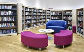 library furniture design. blue and pink library furniture with shelving in the background on outer edge of design l