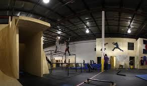 inside of a parkour gym