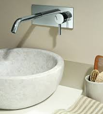 wall mounted faucets bathroom. Appealing Wall Mount Faucet Colored In Luxurious Silver And Installed With Round Shaped Sink Mounted Faucets Bathroom