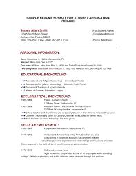 Sample Resume Format Sample Resume Format For Students Menu and Resume 38