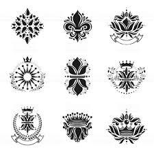 花ロイヤル シンボル花冠エンブレム セット紋章紋章付き外衣の装飾的な