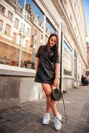 the blogger eléonore from the blog just with the eleaunord wears an awesome faux leather skirt from zara she also wears ash basket sneakers and a chloé