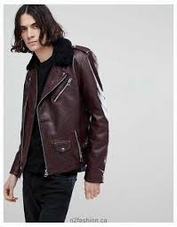 goosecraft idaho leather biker jacket with detatchable collar in redwood men canada new style jackets