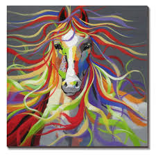 top ing colorful horse oil paintings 100 hand made wall art colorful horse wall art