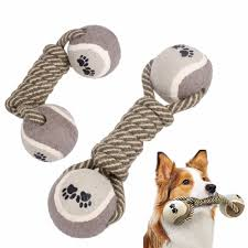 yani dct 6 dog chewing toy cotton rope bone dumbbell tennis pet teeth cleaning