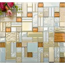 deluxe glass metal mosaic sheets brushed aluminum backsplash blue and golden decorative crystal glass tile for