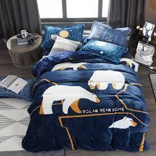 warm winter flannel duvet cover set queen size white bear duvet cover fleece bed sheet pillow case cartoon children bedding sets retro bedding bedding s