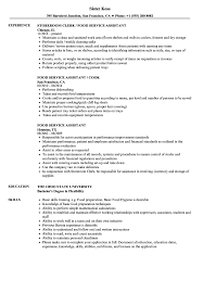 Food Service Assistant Resume Samples Velvet Jobs