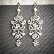 vintage style wedding earrings swarovski pearl and crystal bridal earrings silver filigree chandelier stud earrings wedding jewelry hera