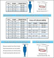 Cap And Gown Measurement Chart Be Fore Size Color Graduation Gown Cap And Tassel