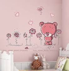 image is loading pink teddy bear wall stickers art decal paper  on teddy bear wall art for nursery with pink teddy bear wall stickers art decal paper baby child nursery