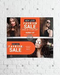 Fashion Banner Modern Fashion Banner Ads Flat Design Template Vector With Photo Uxoui