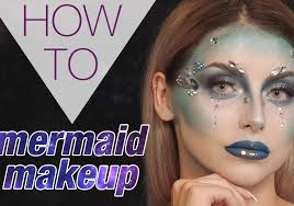 mermaid makeup with liquid lips and glitter gems