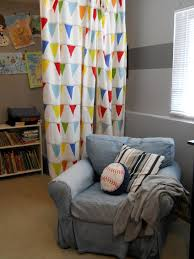 kids room adorable triangle flags on white kids room curtains is set as bulkhead