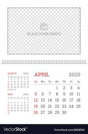 April 2020 Template Wall Calendar Planner Template For April 2020