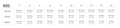 Wetsuit Size Chart Child Youth Kids Tikiwetsuits Com
