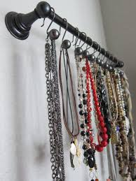 Necklace organizer Towel rod with shower curtain hooks