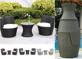 Garden Furniture Rattan Stack Vase Set Table and 2 Chairs Outdoor