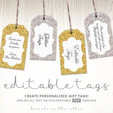 Hang Tag Template Gorgeous Glitter Gift Tags Gold Silver Printable Editable Template Etsy