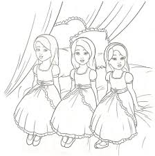 Three Sisters Barbie Coloring Pages Barbie Coloring Pictures