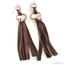 how to make leather wrapped fringe earrings