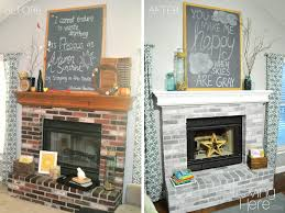Light Grey Painted Brick Fireplace How To Whitewash Brick Our Fireplace Makeover Loving Here